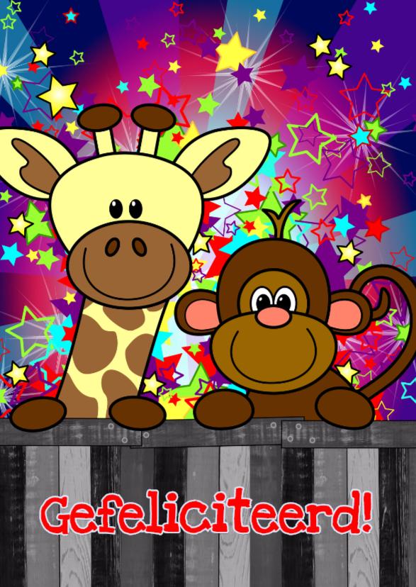 verjaardag giraf aap vrolijk S-H 1