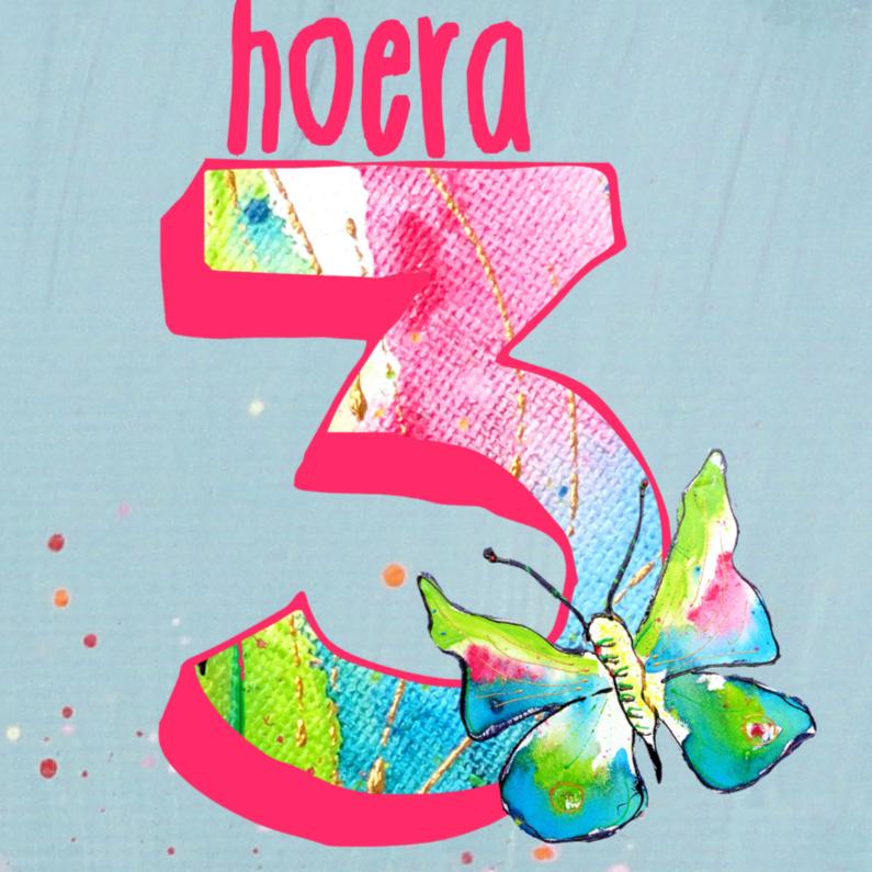Verjaardag meisje 3 jaar vlinder 1