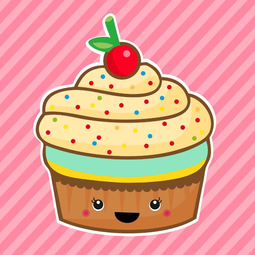 Verjaardag retro cupcake roze 1