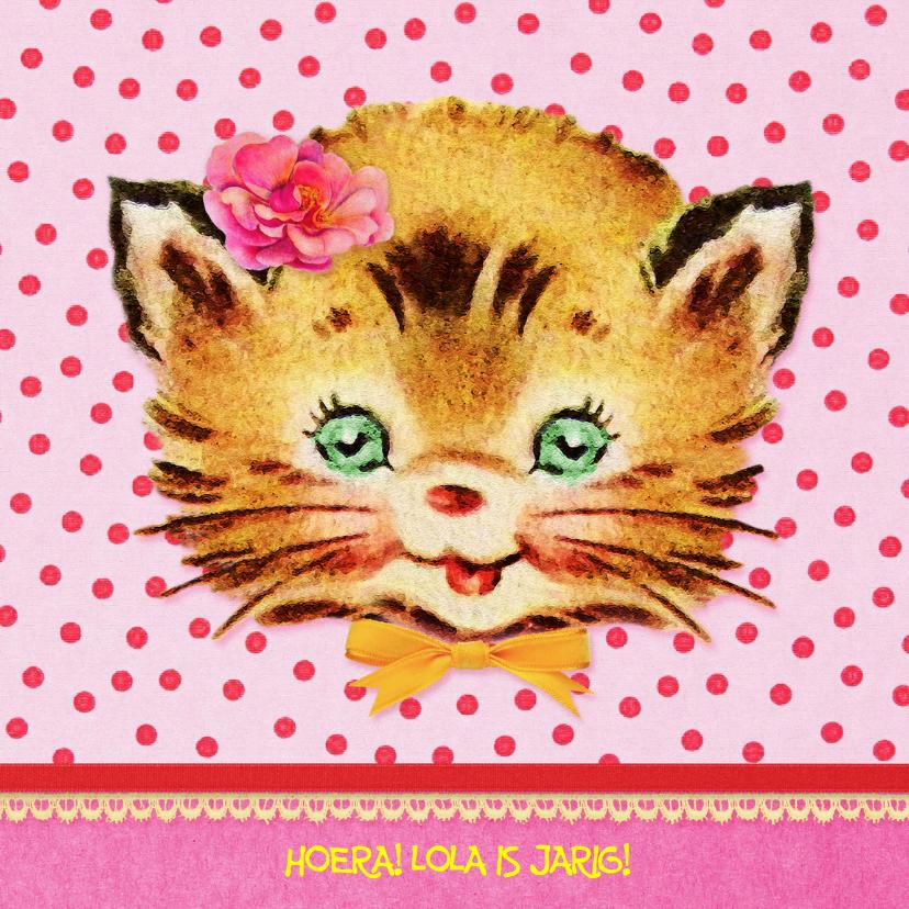Verjaardag Retro Poesje Roze 1