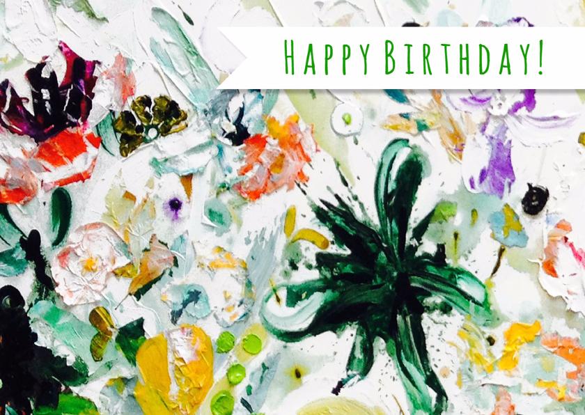Verjaardag wens kunst botanisch 1