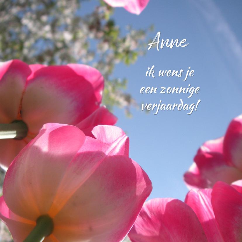 Verjaardag zonnige roze tulpen 1