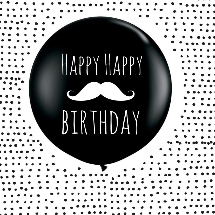 Verjaardagkaart ballon snorretje 1