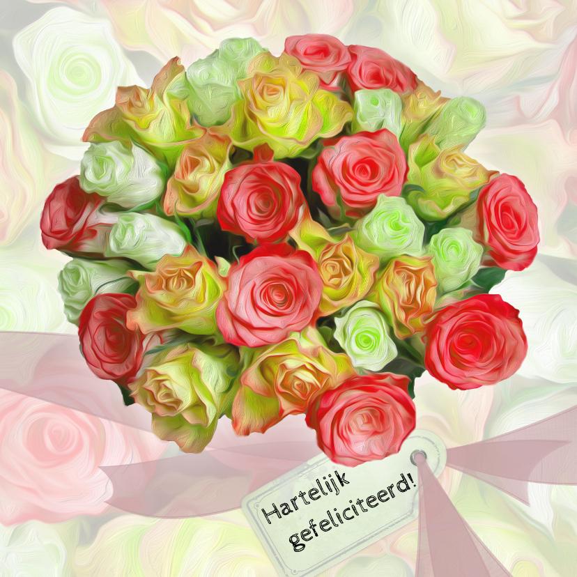 Verjaardagkaart lint en rozen 1