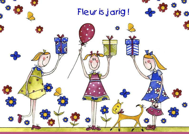 Verjaardagkaart met drie meisjes 1