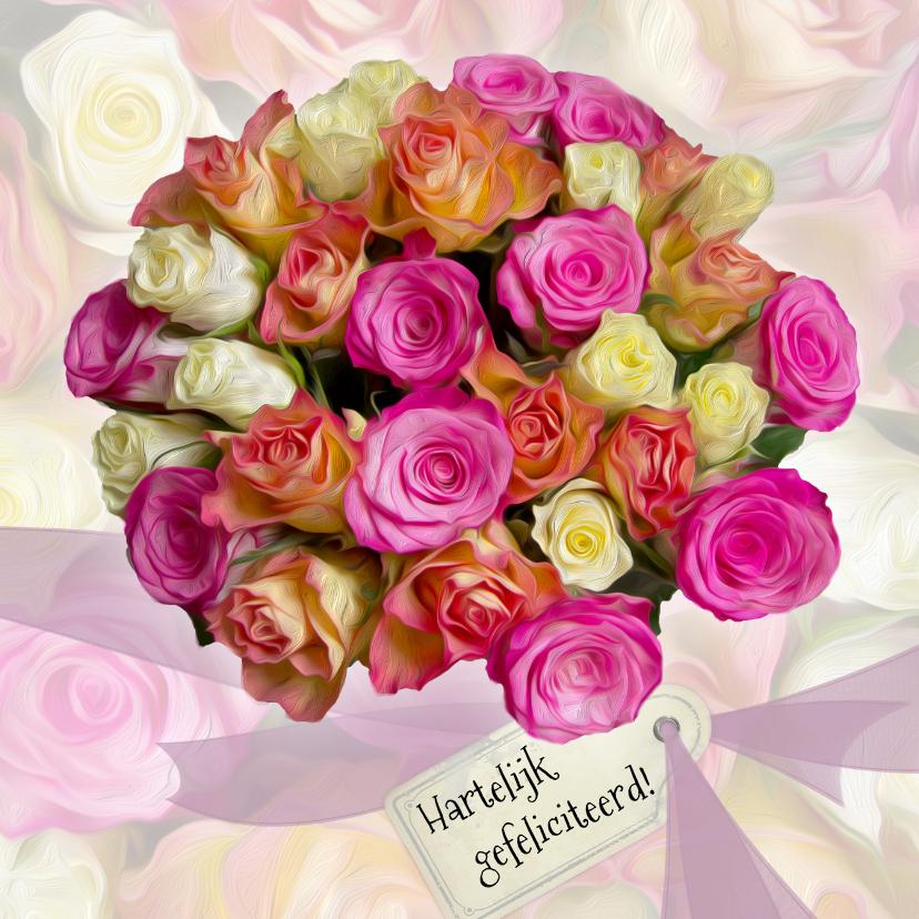 Verjaardagkaart rozen en lint 1