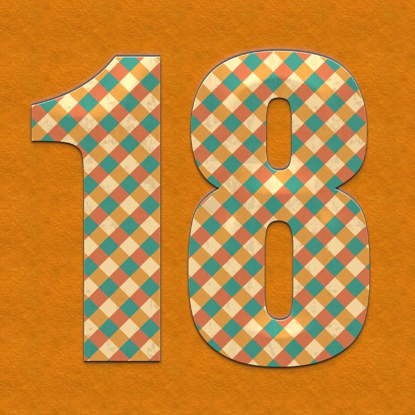 verjaardagskaart 18 Jaar vintage 1