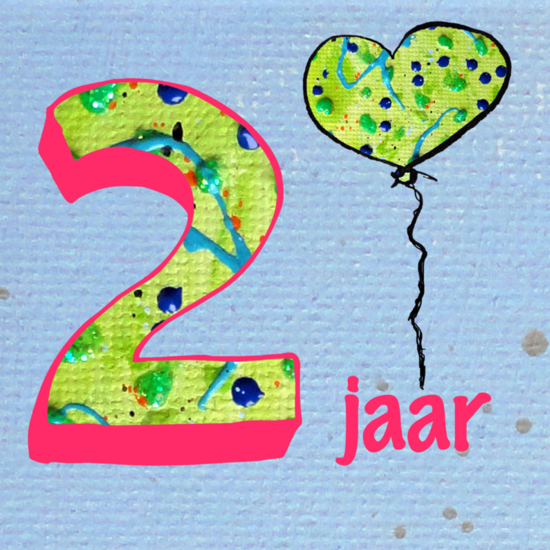 Verjaardagskaart 2 jaar ballon 1
