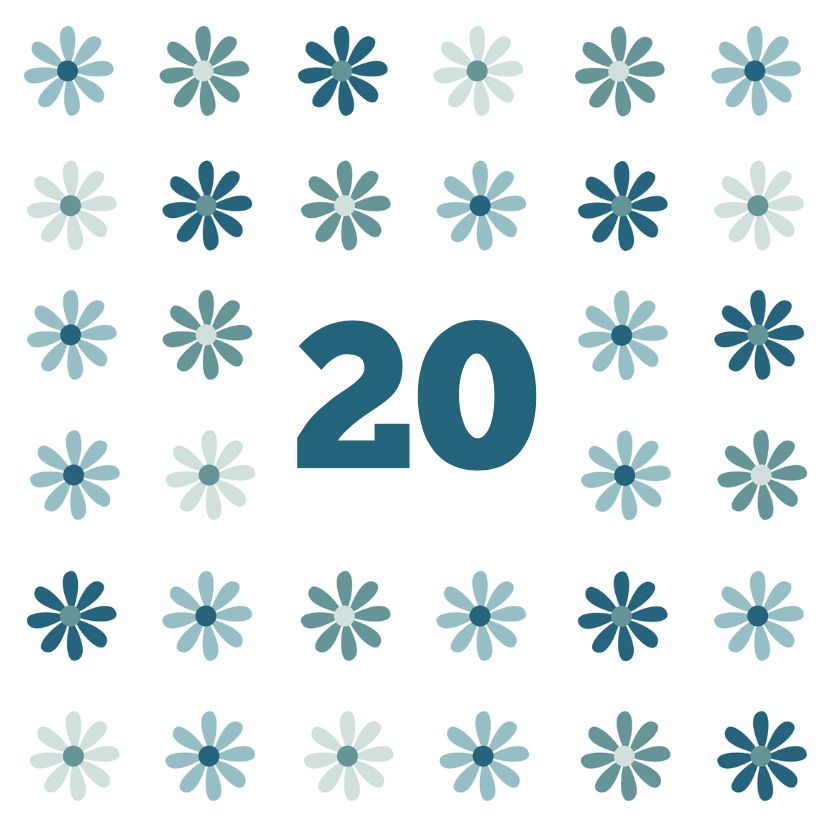 Verjaardagskaart - 20 Jaar bloem 1