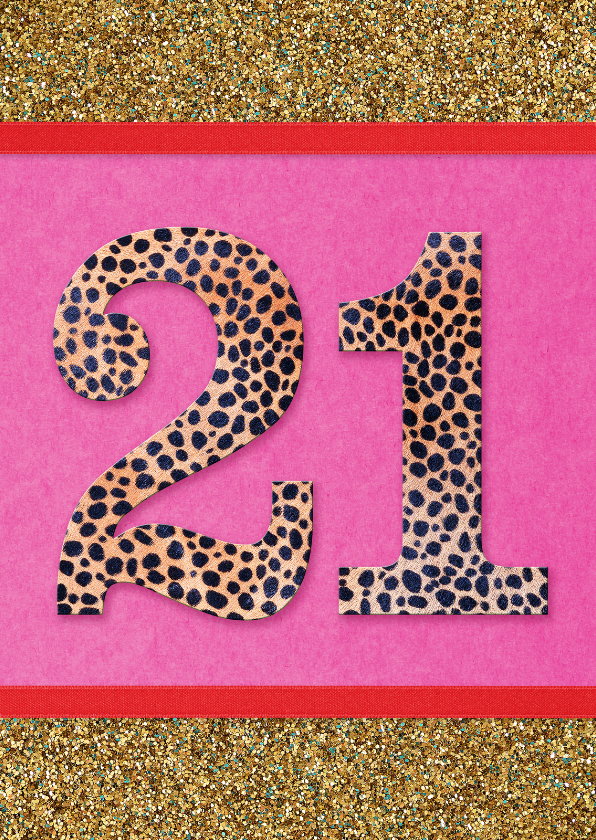 verjaardagskaart 21 roze glitter 1
