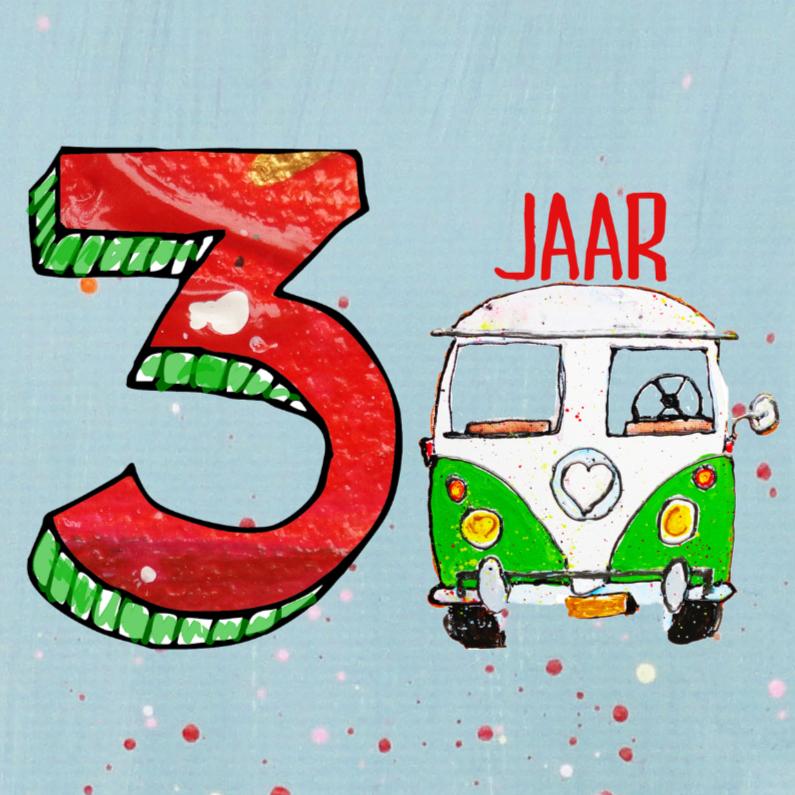 Verjaardagskaart 3 jaar met bus 1