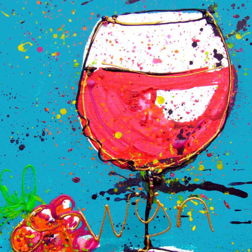 verjaardagskaart 50 rode wijn  2