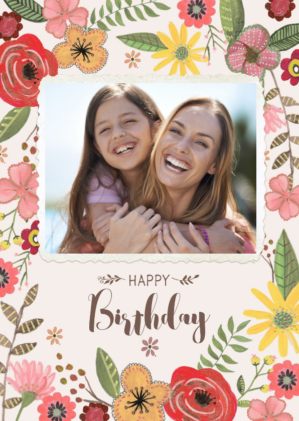 Verjaardagskaart Bloemen & Foto 1
