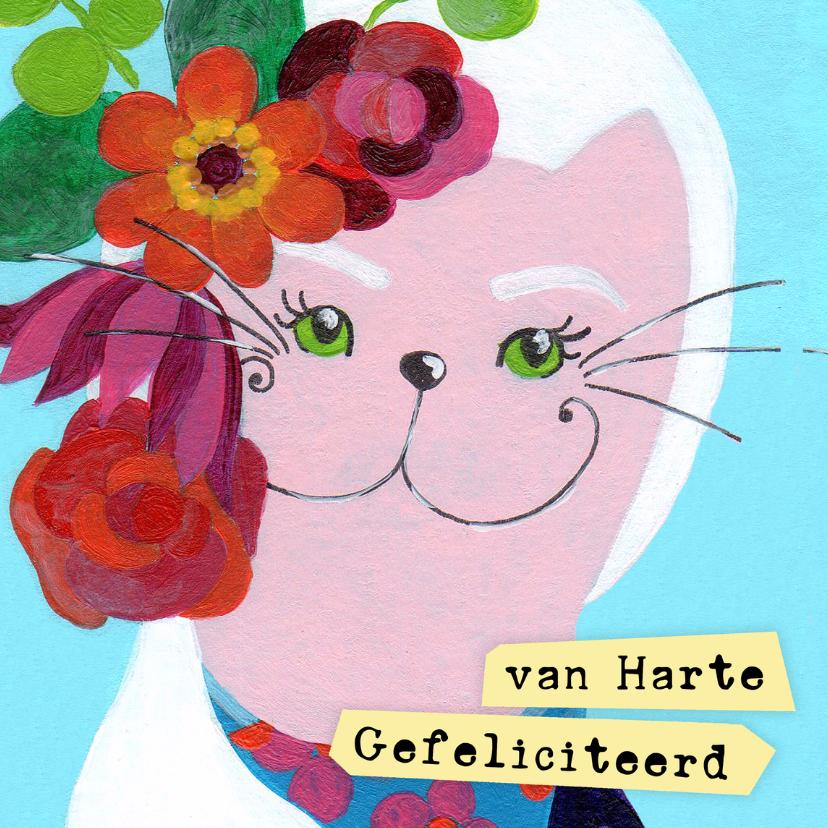 Verjaardagskaart bloemen kat 1
