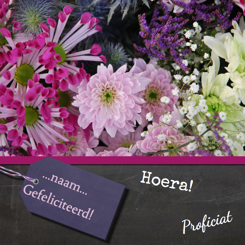 Verjaardagskaart bloemen paars 1