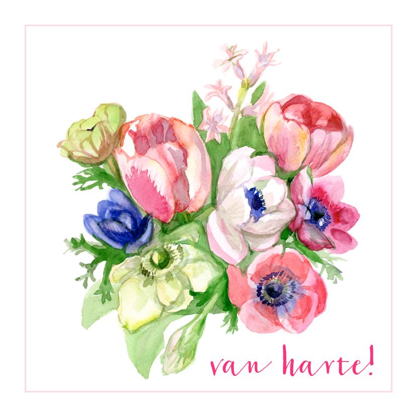 Verjaardagskaart Bloemen Van Harte 1