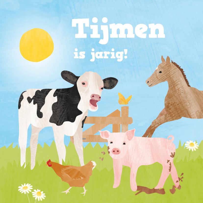 Verjaardagskaart boerderijdieren 1