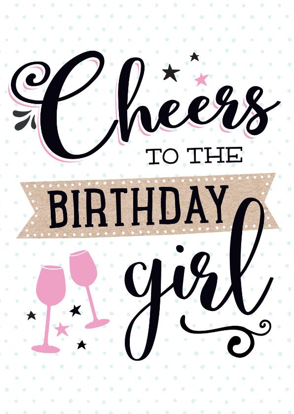 Verjaardagskaart Cheers girl 1