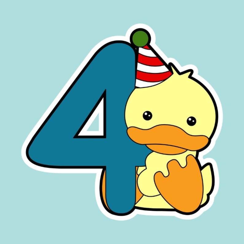 Verjaardagskaart, eend 4 jaar  1