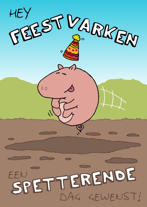 Verjaardagskaart Feestvarken 1