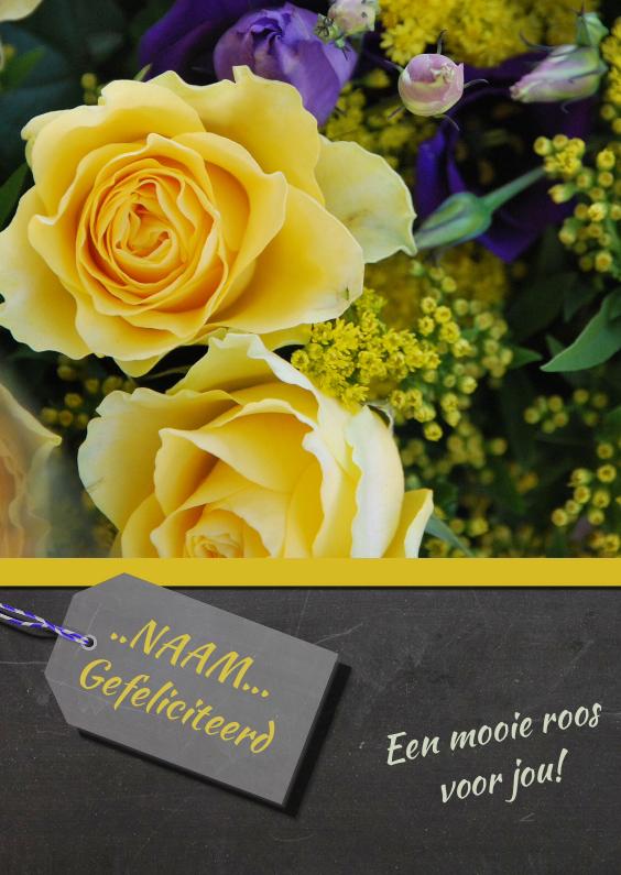 Verjaardagskaart gele roos  1