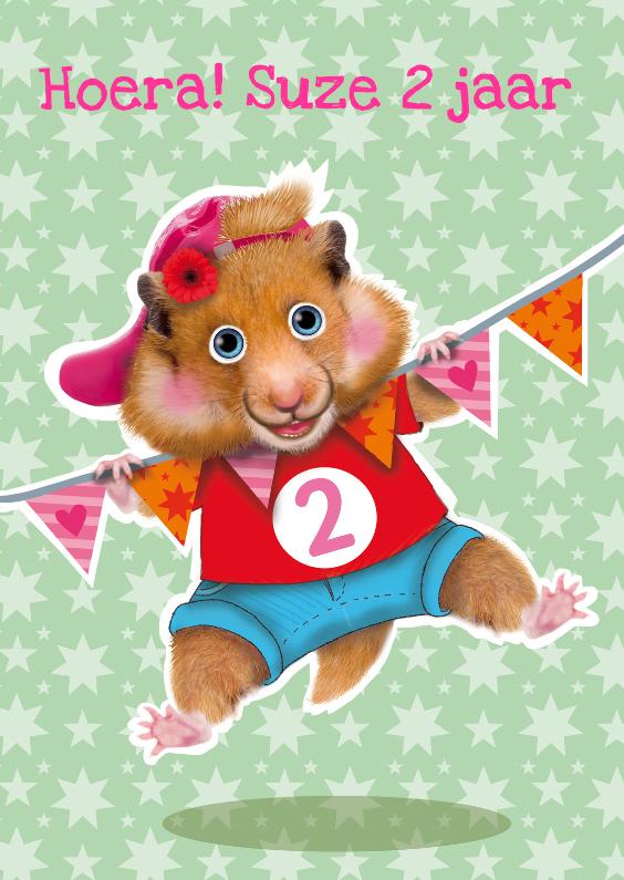 verjaardagskaart hamster meisje 2 jaar 1