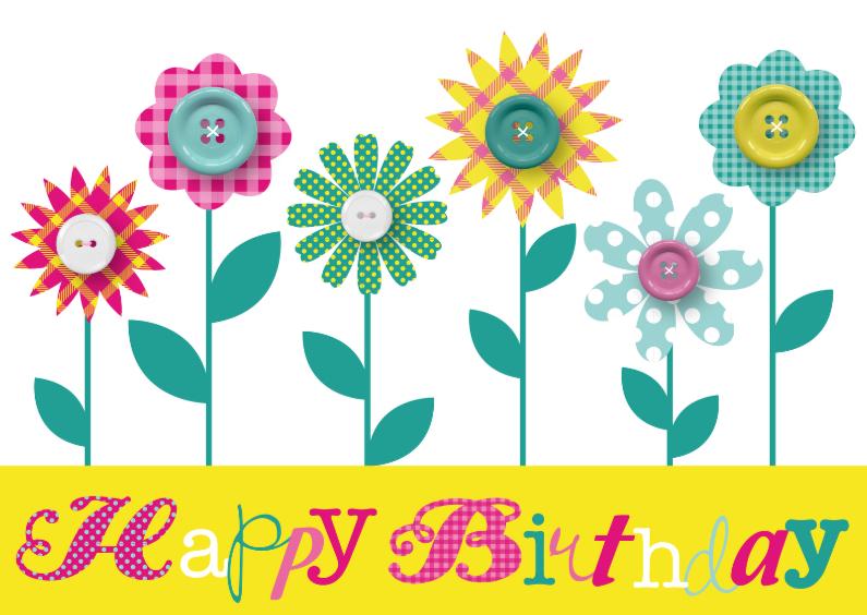 Verjaardagskaart Happy Flowers 1