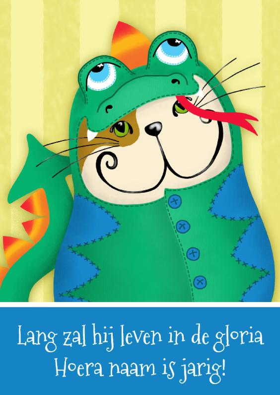 Verjaardagskaart kat draakje 1
