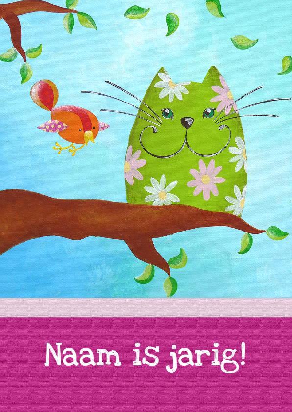 Verjaardagskaart Kat en Vogel 1