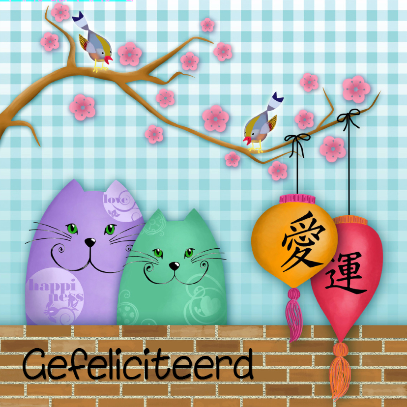 Verjaardagskaart katten love & happiness 1