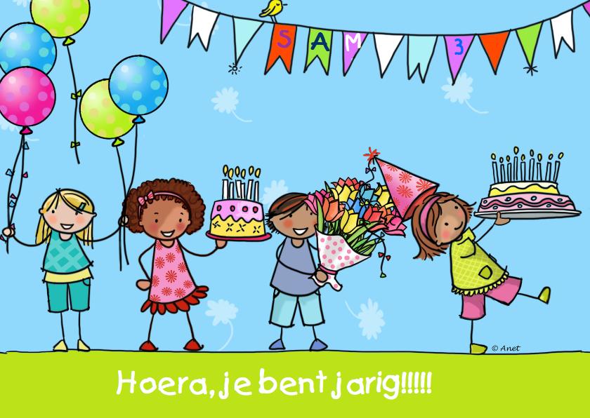 Verjaardagskaart kinderen taart ballon 1