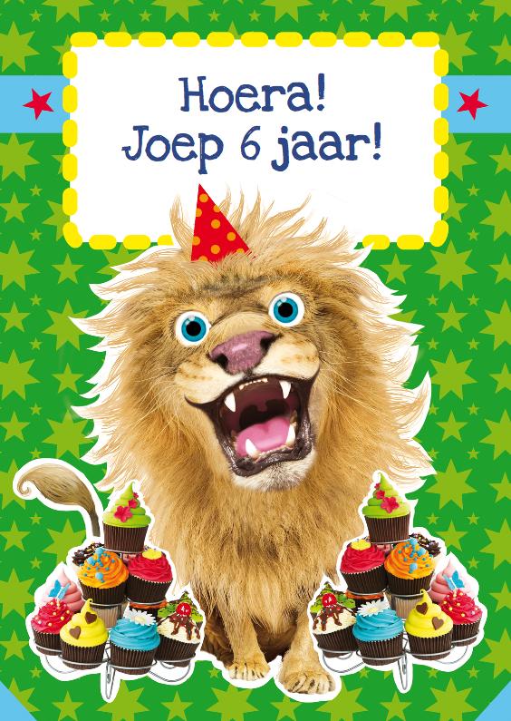 Verjaardagskaart leeuw cupcakes 1