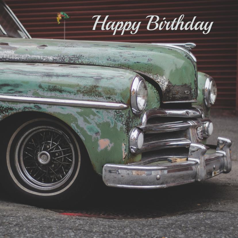 Verjaardagskaart man retro auto 1