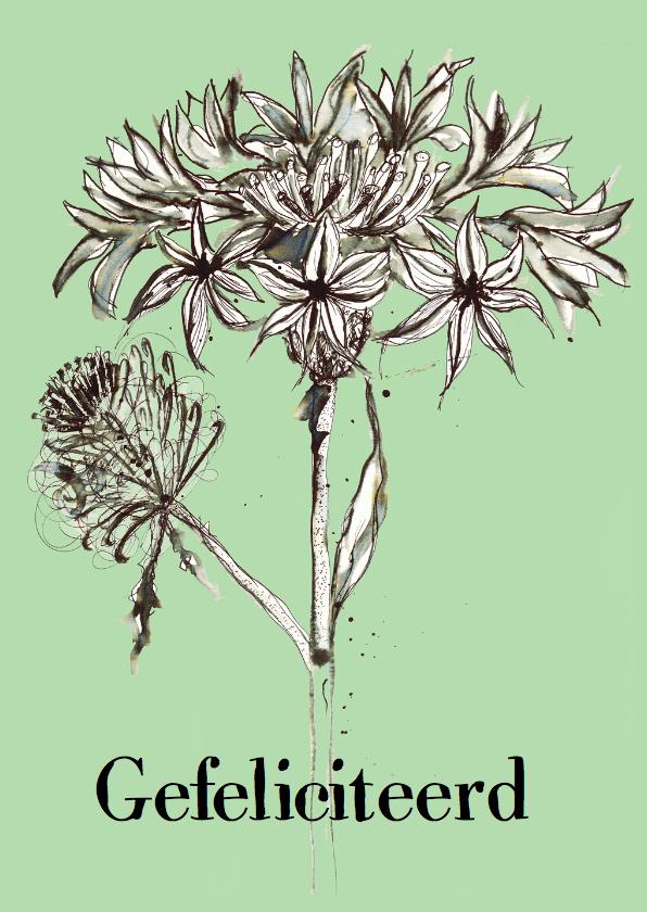 Verjaardagskaart met getekende bloem 1