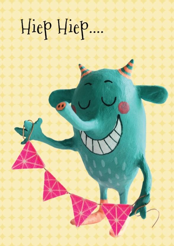 Verjaardagskaart met monster 1