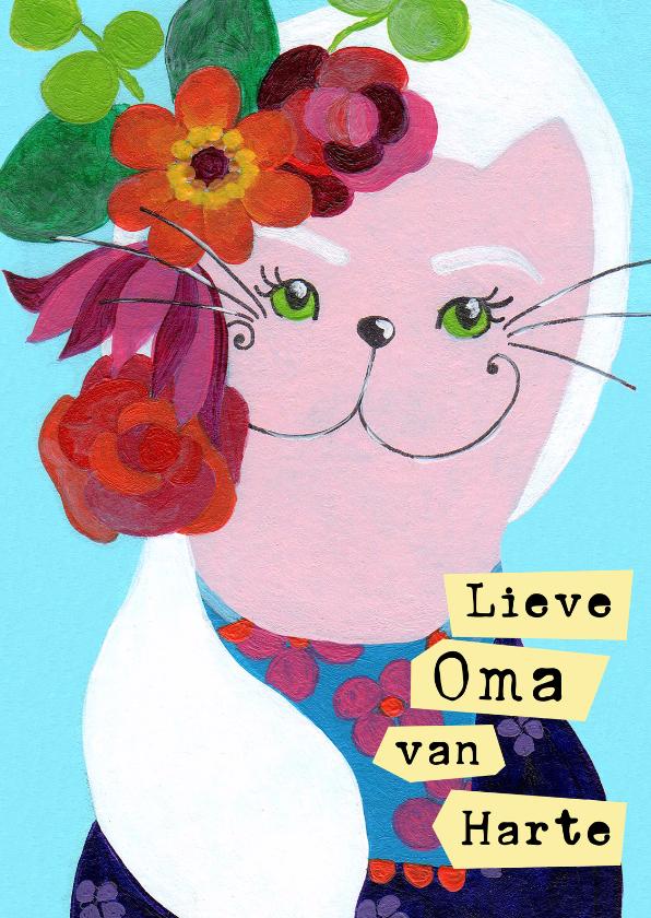 Verjaardagskaart Oma kat bloem 1