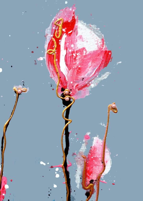 Verjaardagskaart oma roos 2