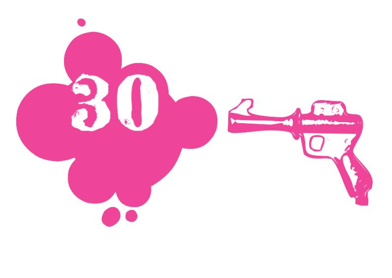 Verjaardagskaart Pink gun 1