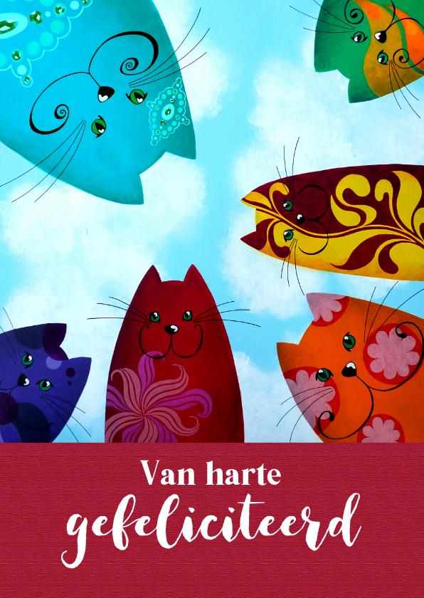 Verjaardagskaart rainbow katten 1