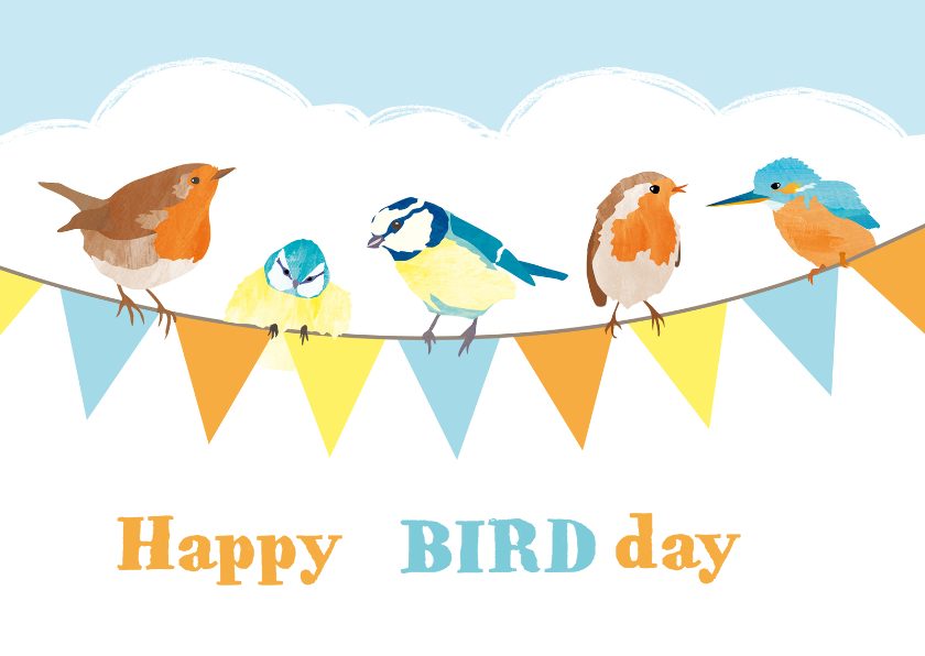 Verjaardagskaart slinger vogels 1