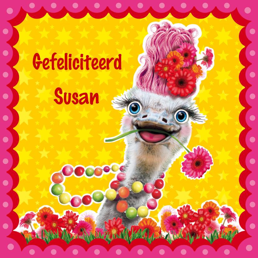 verjaardagskaart struisvogel 1