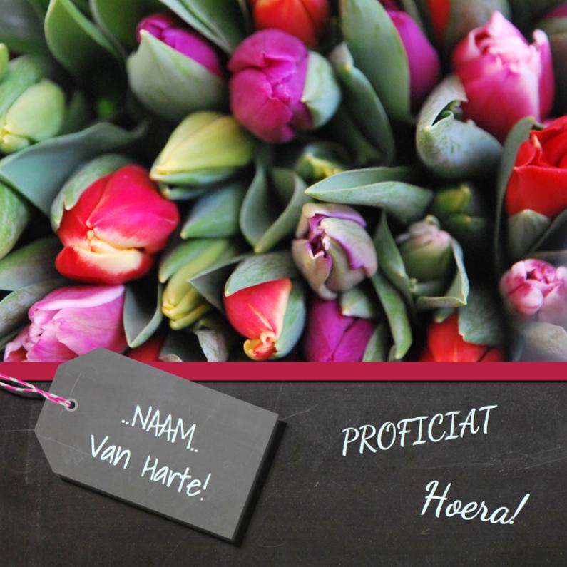 Verjaardagskaart tulpen mix
