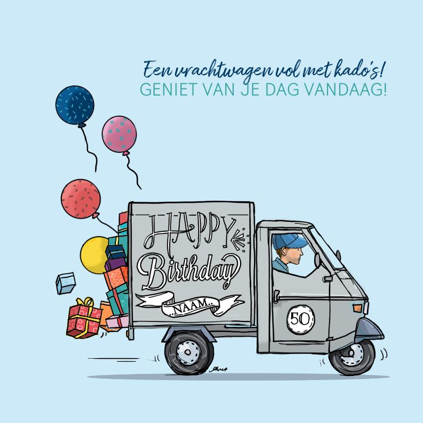 Verjaardagskaart Vespa Ape grijs 1