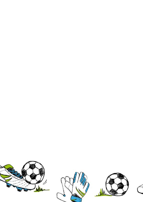 Verjaardagskaart voetbal gras   2