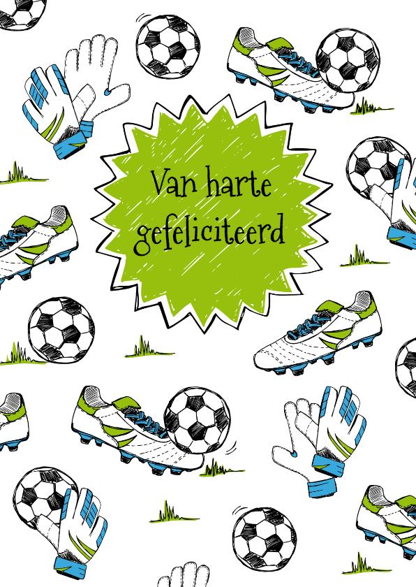 Verjaardagskaart voetbal gras   1