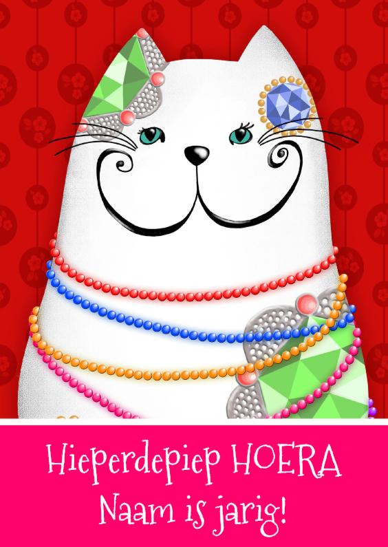 Verjaardagskaart witte kat 1