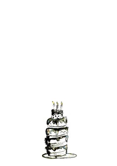 verjaardagskaart zwart wit taart 2
