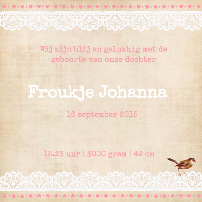 Vintage  Geboortekaart Froukje 3