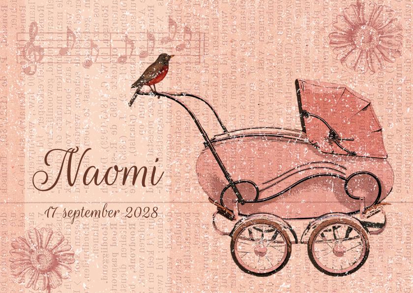 Vintage kinderwagen roze 1