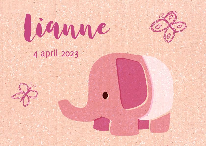 Vintage olifantje roze 1